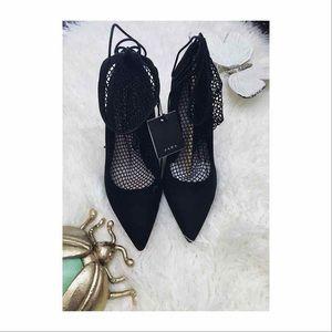 New Zara fishnet heels size 10